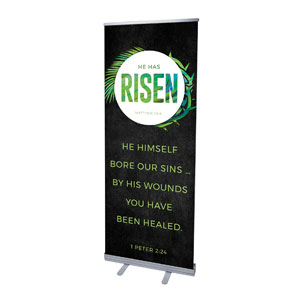 "Easter Palm Crown Scripture 2'7"" x 6'7""  Vinyl Banner"