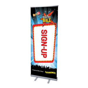 "Go Fish Backstage With The Bible Sign Up 2'7"" x 6'7""  Vinyl Banner"