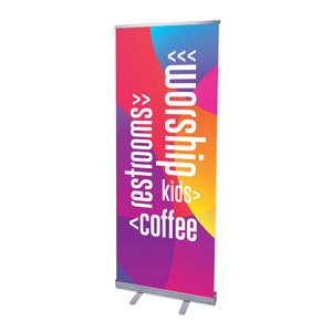 "Curved Colors Directional 2'7"" x 6'7""  Vinyl Banner"
