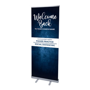 "Blue Grunge Welcome Back Distancing 2'7"" x 6'7""  Vinyl Banner"