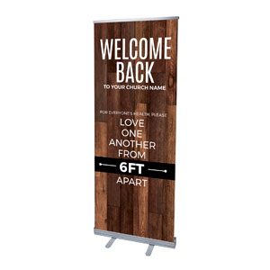 "Walnut Welcome Back Distancing 2'7"" x 6'7""  Vinyl Banner"