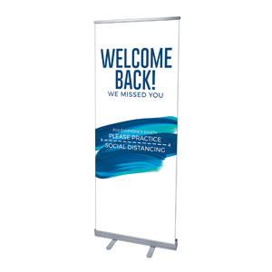 "Blue Paint Stroke Welcome Back Distancing 2'7"" x 6'7""  Vinyl Banner"