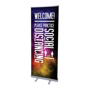 "Dark Smoke Welcome Back Distancing 2'7"" x 6'7""  Vinyl Banner"