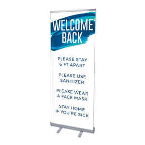 "Blue Paint Stroke Welcome Guidelines 2'7"" x 6'7""  Vinyl Banner"