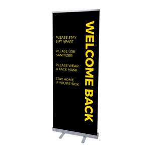 "Black Welcome Guidelines 2'7"" x 6'7""  Vinyl Banner"
