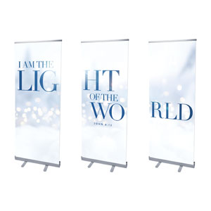 "Light Of The World Sparkle Triptych 2'7"" x 6'7""  Vinyl Banner"