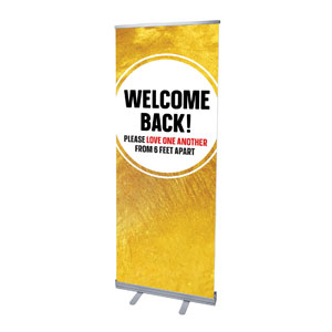 "Gold Dot Welcome Back Distancing 2'7"" x 6'7""  Vinyl Banner"