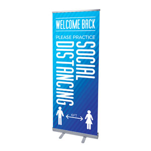 "Retro Geo Blue Welcome Back Distancing 2'7"" x 6'7""  Vinyl Banner"