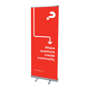 "Alpha Arrow Create Community Red 2'7"" x 6'7""  Vinyl Banner"