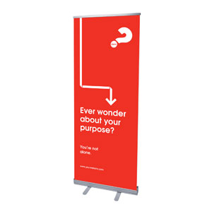 "Alpha Arrow Purpose Red 2'7"" x 6'7""  Vinyl Banner"