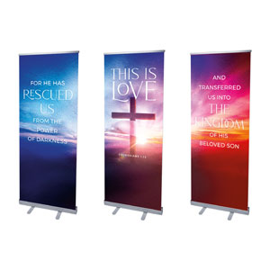 "Love Easter Colors Triptych 2'7"" x 6'7""  Vinyl Banner"