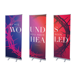 "Celebrate Easter Crown Triptych 2'7"" x 6'7""  Vinyl Banner"