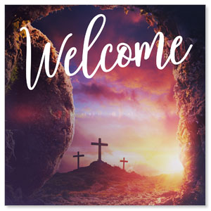 Dramatic Tomb Easter Welcome StickUp