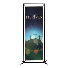 He Lives Crosses Banner