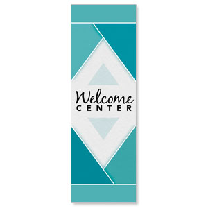 Welcome Diamond Blue 2' x 6' Banner