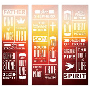 Phrases Trinity Triptych 2' x 6' Banner