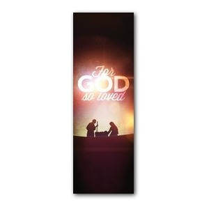 For God So Loved Nativity 2' x 6' Banner