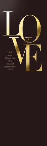Banners, Scripture, Gold Letters Love, 2' x 6'