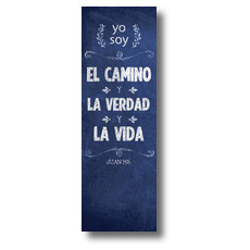 Chalkboard Art Blue Spanish Banner