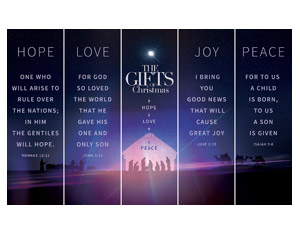 The Gifts of Christmas Advent 5 Banner Set 2' x 6' Banner
