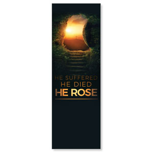 Suffered Died Rose 2' x 6' Banner
