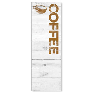 Shiplap Coffee White 2' x 6' Banner
