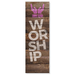 Shiplap Worship Natural 2' x 6' Banner