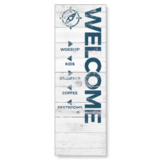 Shiplap White Directional Banner