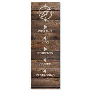 Shiplap Natural Directional 2' x 6' Banner