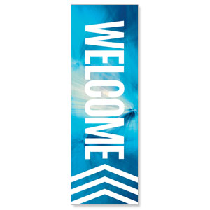 Chevron Welcome Blue 2' x 6' Banner