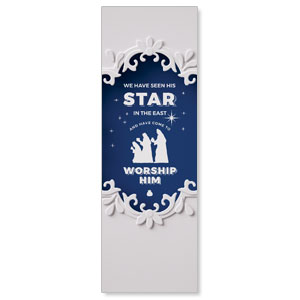 Paper Cut Out Christmas Blue 2' x 6' Banner
