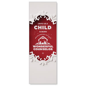 Paper Cut Out Christmas Red 2' x 6' Banner