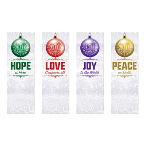 Silver Snow Advent Ornaments 2' x 6' Banner