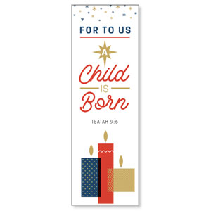 Stamped Christmas Child Born 2' x 6' Banner