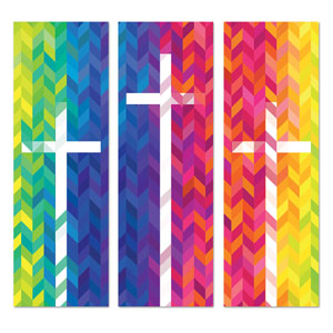 Bright Chevron Crosses 2' x 6' Banner