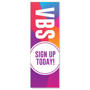 Curved Colors VBS Sign Up 2' x 6' Banner