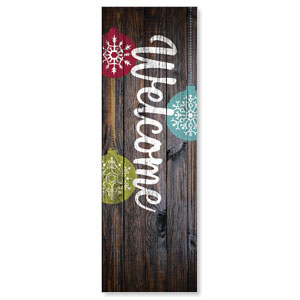Dark Wood Christmas Ornaments 2' x 6' Banner