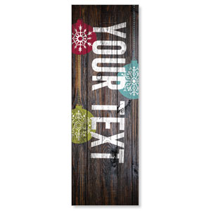Dark Wood Christmas Ornaments Your Text 2' x 6' Banner