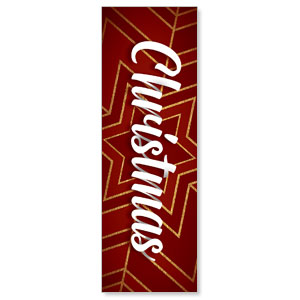 Red and Gold Snowflake 2' x 6' Banner