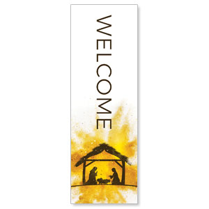 Gold Powder Creche Welcome 2' x 6' Banner
