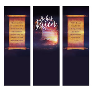 Dramatic Tomb Easter Triptych 2' x 6' Banner