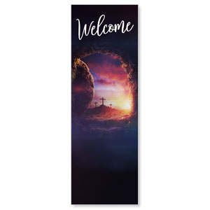 Dramatic Tomb Easter Welcome 2' x 6' Banner