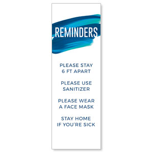 Blue Paint Stroke Reminders 2' x 6' Banner