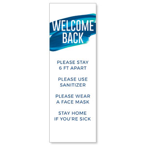 Blue Paint Stroke Welcome Guidelines 2' x 6' Banner