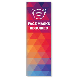 Geometric Bold Face Masks Required 2' x 6' Banner