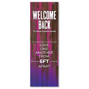 Colorful Wood Welcome Back Distancing 2' x 6' Banner