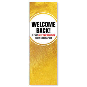 Gold Dot Welcome Back Distancing 2' x 6' Banner