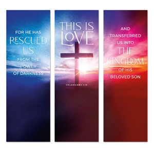Love Easter Colors Triptych 2' x 6' Banner