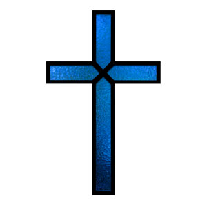 Blue Stained Glass Cross Banners