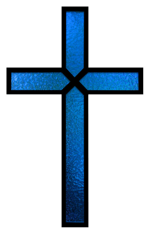 Banners, Easter, Blue Stained Glass Cross, 4' x  12'